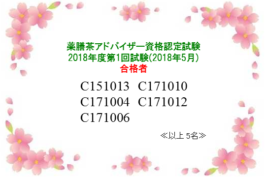 薬膳茶アドバイザー資格認定試験:2019年第1回合格者一覧